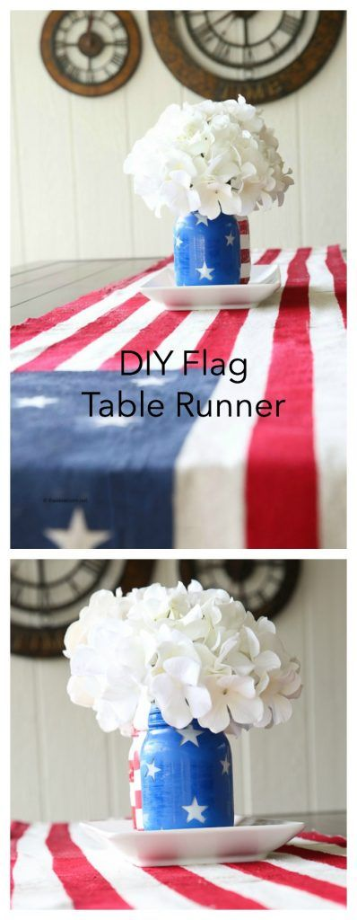 Fourth of July Ideas  DIY Flag Table Runner Decoration-The Idea Room