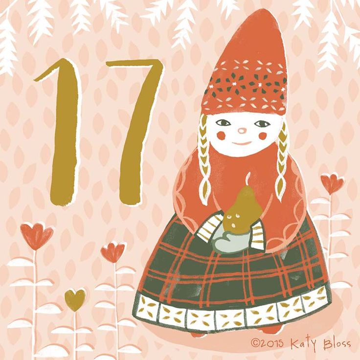 A girl picking golden pears in the snow, on day 17 of an illustrated advent calendar by Katy Bloss.
