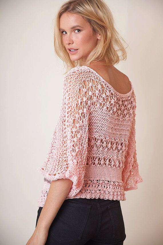 Cotton hand knit top, dolman sleeve top, pink jumper, loose blouse, lace knit...
