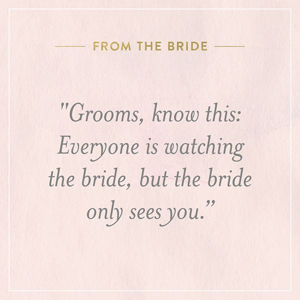 A quote from the bride on her wedding day.