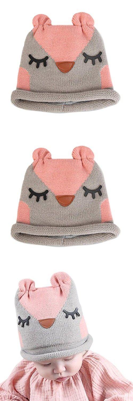 Tuscom Cute Winter Baby Kids Girls Boys Warm Woolen Caps Hats (Gray)