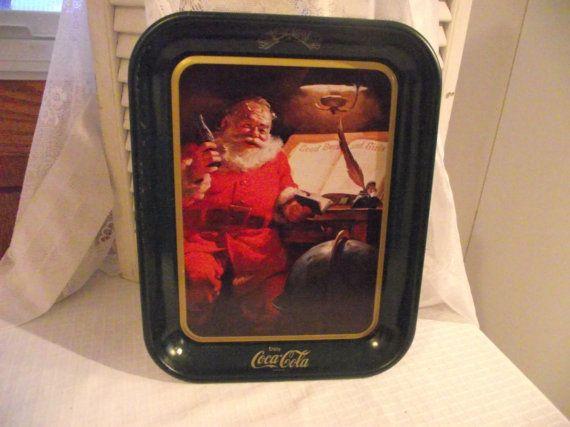 HALF Price: Coca Cola Santa TrayHoliday by KathysRetroKorner