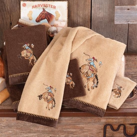 Bronc Rider Embroidered Bath Towel Cowgirly Stuff