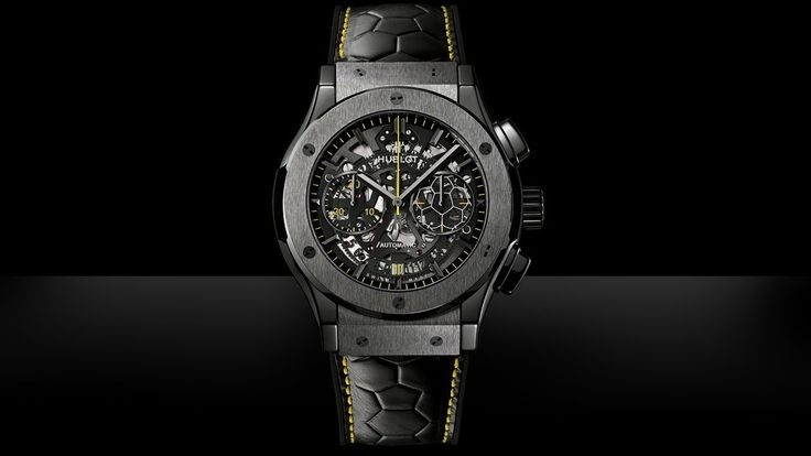 The watch is a Classic Fusion Aero Chronograph limited to just 500 pieces, with 45 mm polished/satin-finished ceramic case, and an automatic mechanical Aero Hublot chronograph movement. The sapphire dial has faceted and polished indices and transfers in silver powder and yellow. Pelé's famous signature is found on the watch's case back.
