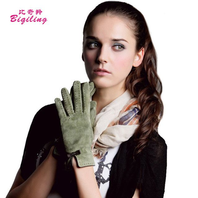 Women Winter Elegant Wrist Gloves Top Quality Suede Gloves Mittens Solid Soft Warm Full Finger Guantes