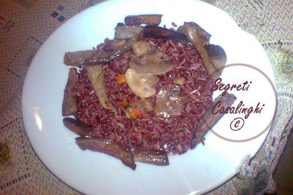 riso thai rosso melanzane funghi,ricetta con il riso rosso,ricetta con il riso thai e funghi,ricetta con il riso thai e melanzane,ricette con il riso,