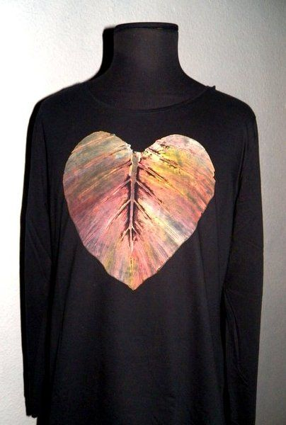 Woman's Tshirt  Hand Painted Long sleeve Heart I from PaperArcsArt by DaWanda.com