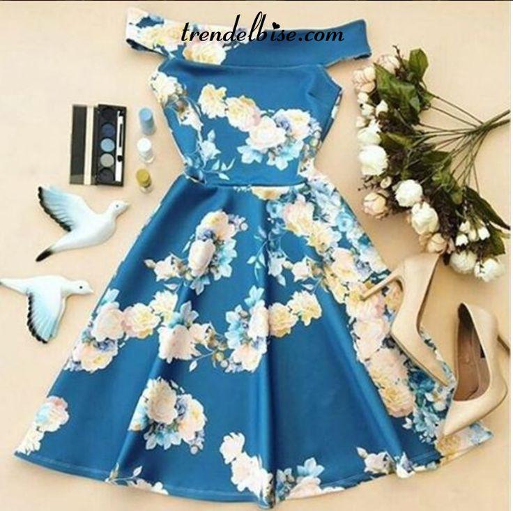 Trendelbise.com sayesinde Çiçek Desenli Elbise - Mavi elbiseyi hemen alın.