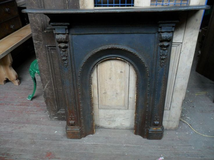Large Original Ornate Arch Antique Cast Iron Fireplace