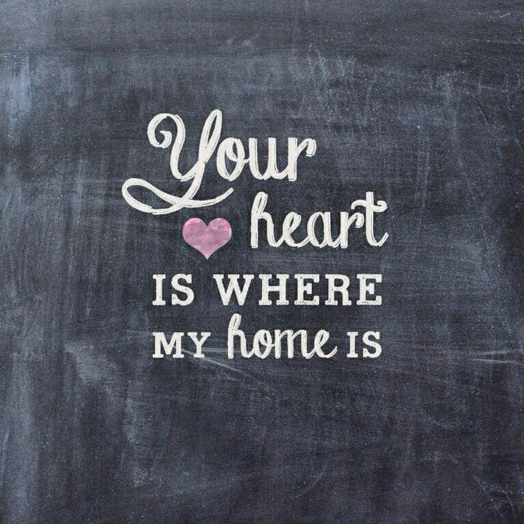 Home Is Where The Heart Is Quote: Your Heart Is Where My Home Is, Chalkboard Print. Visit