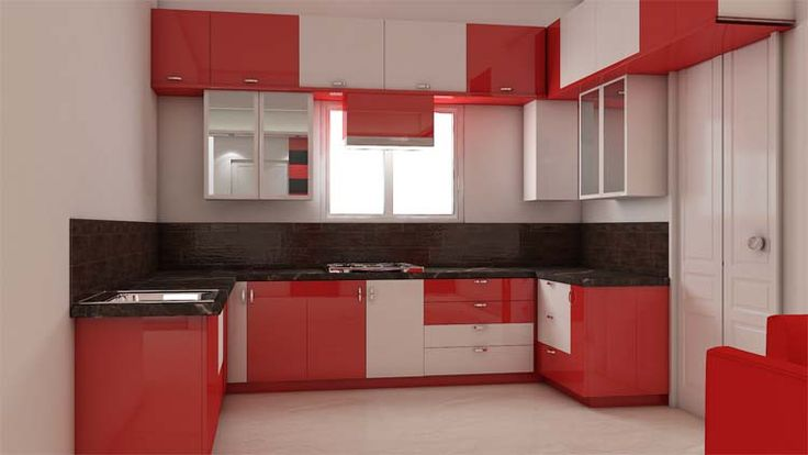 Simple kitchen interior design for 1bhk house for Interior decoration for small kitchen