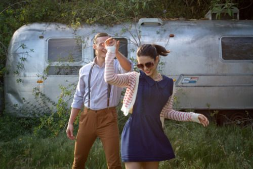 Chuck Hittinger and Ali Cobrin, both costarring in the American Pie Reunion movie, photographed by Bethany Nauert.  Ali is wearing a navy Nolita Dress by Dear Creatures.
