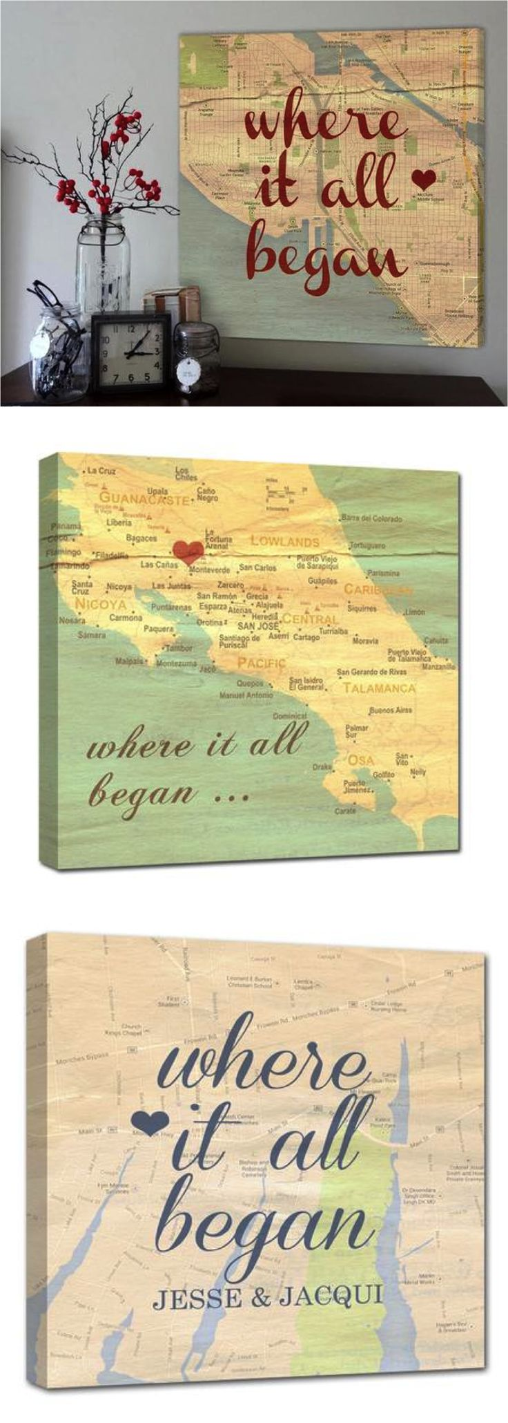 Personalized maps with names dates a vintage