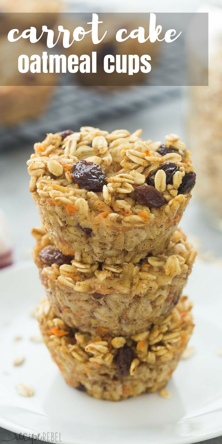 These Carrot Cake Baked Oatmeal Cups are an easy make ahead breakfast that's freezer friendly and easy to customize! Just 100 calories and high in protein and fiber. Includes step by step recipe video. | easy recipe | breakfast | brunch | make ahead | meal prep | healthy recipe | diet | meal planning