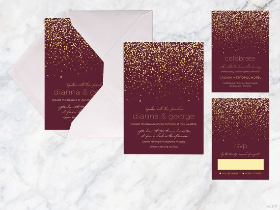 Printable Wedding Invitation Set Maroon Gold by whitekittin