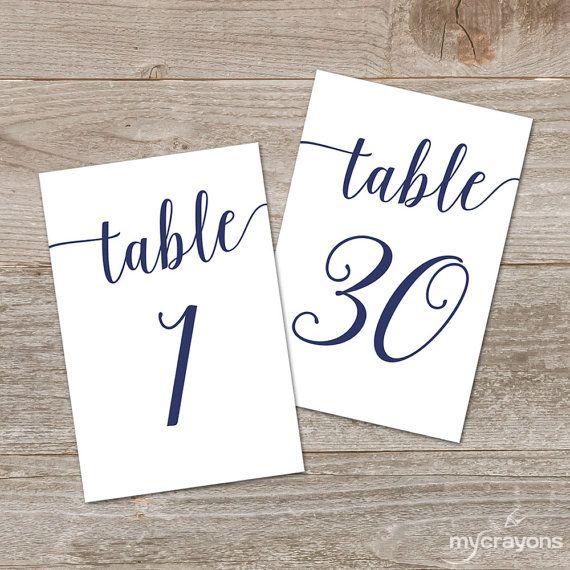 Navy Script Table Numbers, Bella Script Printable Table Numbers 1-30 // Navy Wedding Decor // 5x7, 4x6 Table Number Wedding