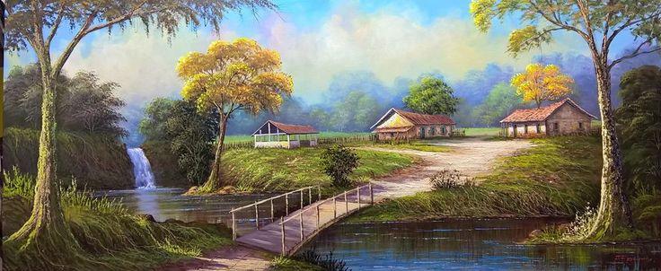 Quadro paisagem 'A ponte'   Tabuleiro das Artes   Elo7
