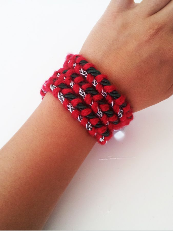 DIY Christmas Braided Wrap Bracelet - with rope, chain and ...