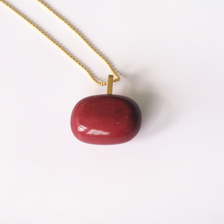 Gouden SQUARE ketting roze/rood