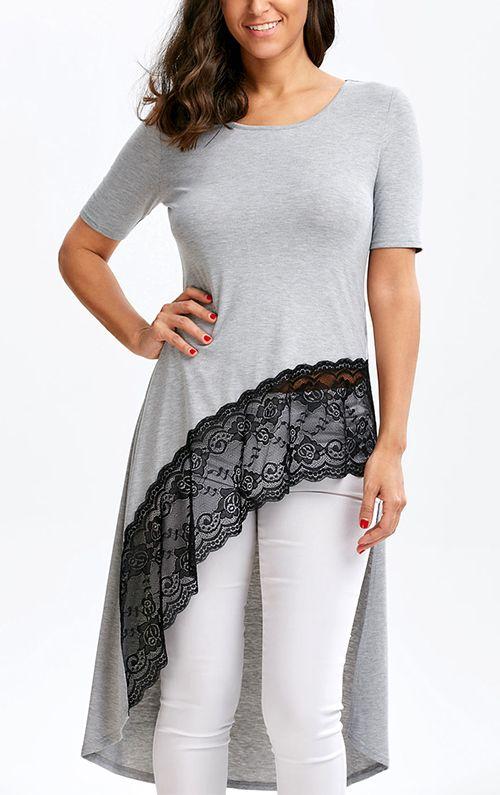 Lace Trim High Low Hem Longline T-shirt