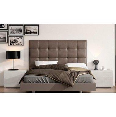 Cabecero tapizado en piel sintetica blanco o marrón para cama de matrimonio.