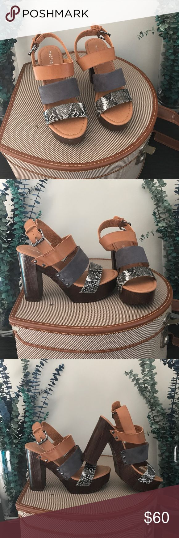 Madden Girl platform sandals These stylish designer shoes are looking for a new home, this beauty of brown , Grey and brown heels make this a must have size 8, brand new never wear Madden Girl Shoes Platforms