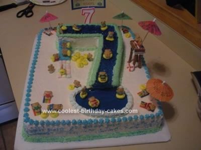 Homemade 7th Birthday Waterslide Cake: My grandson had a water themed party for his 7th birthday so I made this 7th Birthday Waterslide Cake for him. I used a 12 x 15 pan and frosted the cake