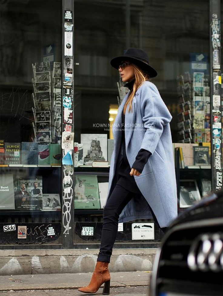 skyblue coat + black jeans + brown ankle boots