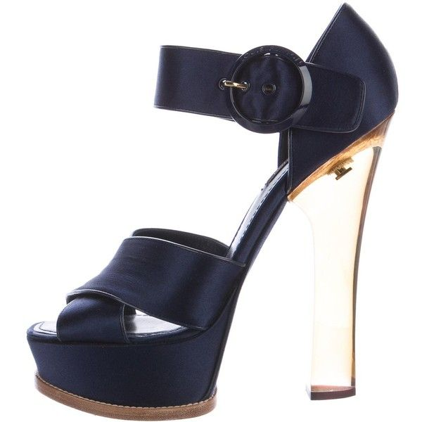 Pre-owned Louis Vuitton Satin Platform Sandals ($495) ❤ liked on Polyvore featuring shoes, sandals, blue, louis vuitton shoes, platform shoes, platform sandals, louis vuitton and satin shoes