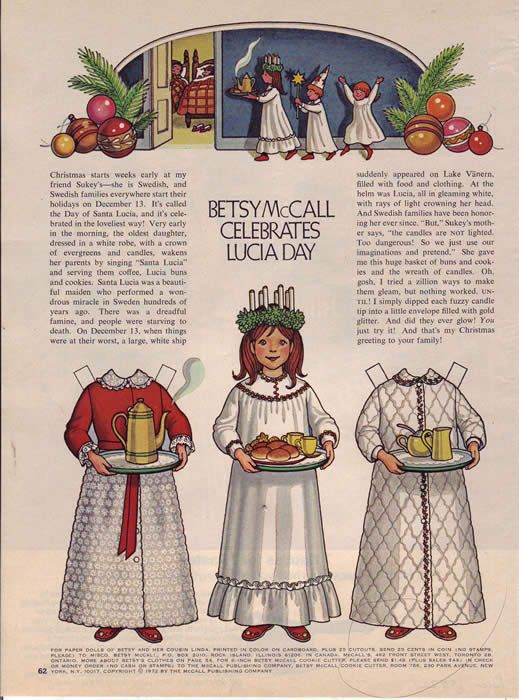 St. Lucia Day paper doll. (Site links to six decades of paper dolls from McCall's magazine. Why don't I remember these?)