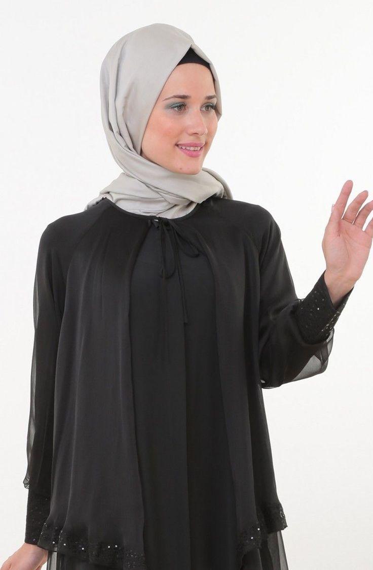 Doque Pul Palet İşlemeli Ferace-Siyah Db63026-12 - Alâ Tesettür | Tesettür Giyim, Ferace, Elbise, Şal, Haşema