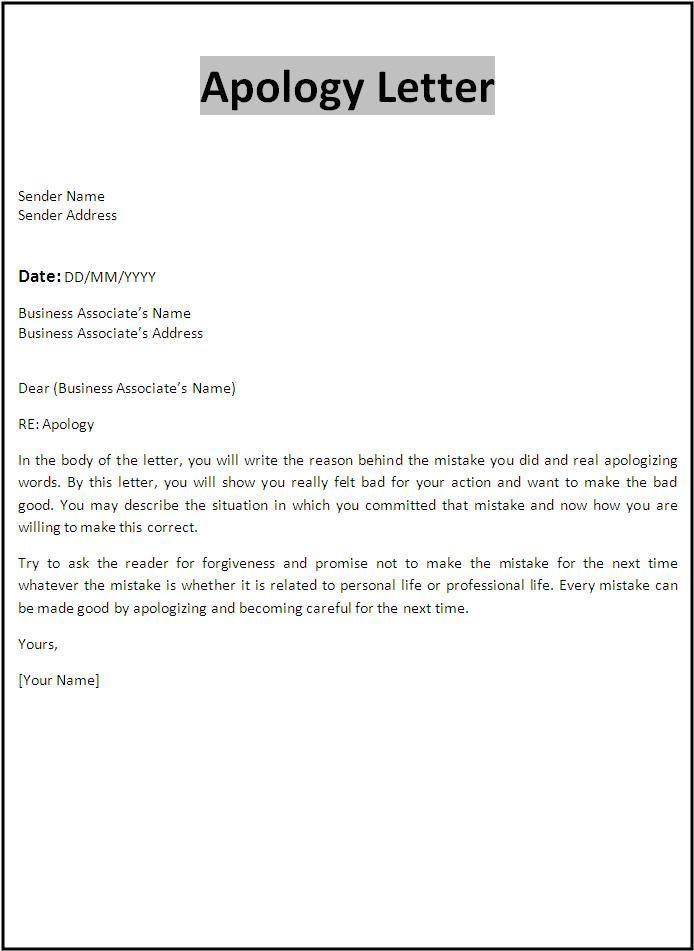 6 Apology Letter Templates Letter Templates Free Letter