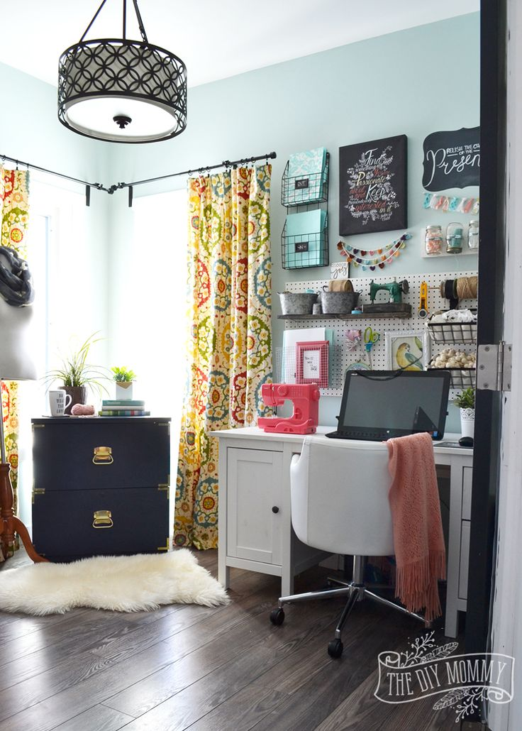 A colorful boho craft room home office