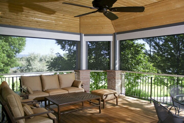 25 best ideas about enclosed decks on pinterest for Screen porch window treatments