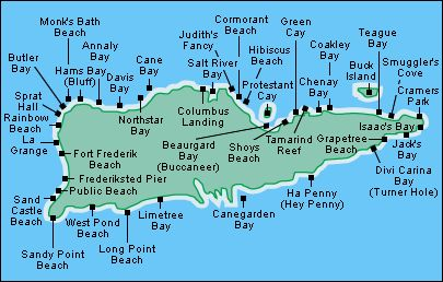 #Map of #StCroix #beaches US Virgin Islands USVI  Here's a full description of the best beaches on St. Croix in the Virgin Islands:  http://villamargarita.com/best-st-croix-beaches-us-virgin-islands-beaches/