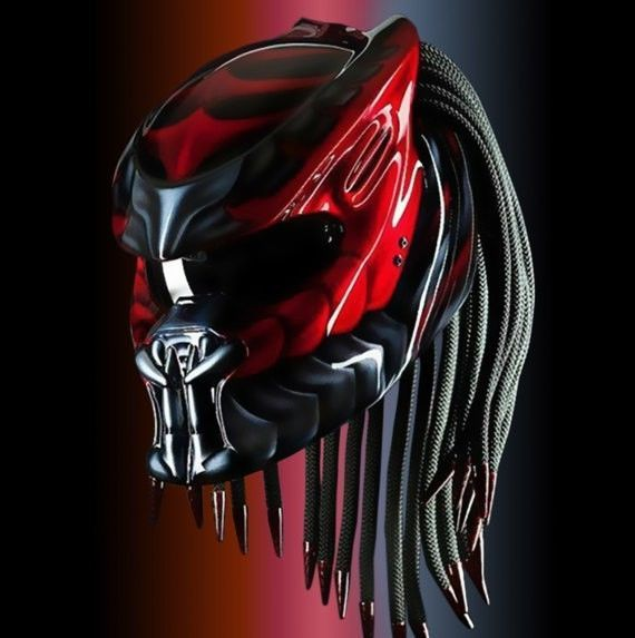 THE ALIEN PREDATOR HELMET STREET FIGHTER STYLE DOT APPROVED #CELLOS