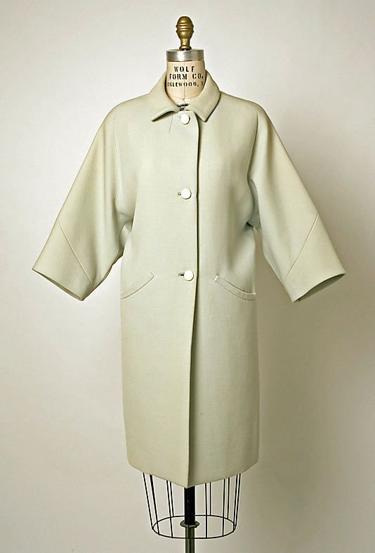 Coat.  House of Balenciaga  (French, founded 1937).  Designer: Cristobal Balenciaga (Spanish, 1895–1972). Date: 1964. Culture: French. Medium: wool. Dimensions: L. at center back 38¾ in. (98.5 cm).