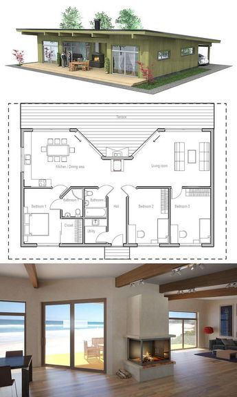 Small House Plan with three bedrooms. Love the porch fireplace concept. I really like this floor plan.