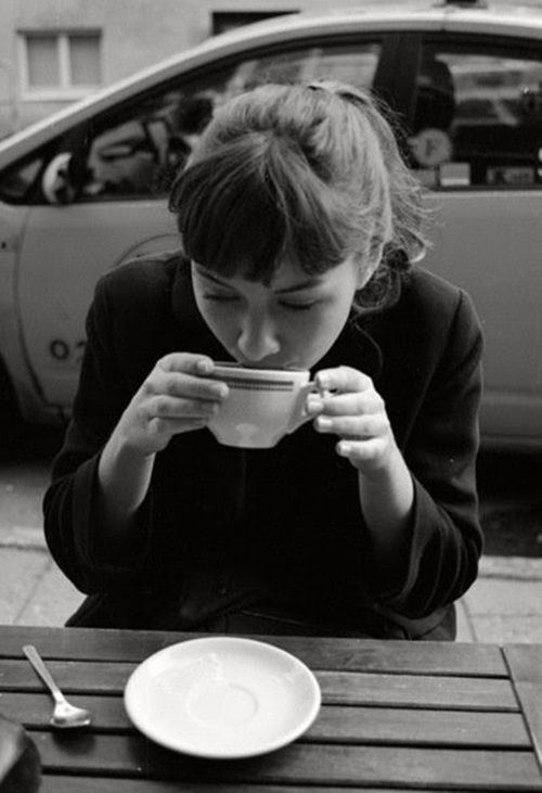 Anna Karina style coffee. Drinking big cups of coffee like in the 50's