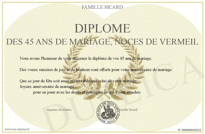 Diplome Des 45 Ans De Mariage Noces De Vermeil 20 Idees Pour 45