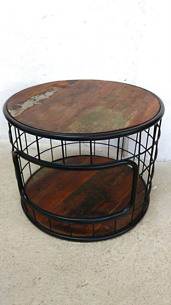 Details Zu Couchtisch Sofa Tisch Rund 60 Cm Altholz Industrie Lounge Design Massivholz