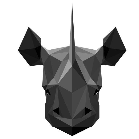 Muursticker Diamond Animal Neushoorn