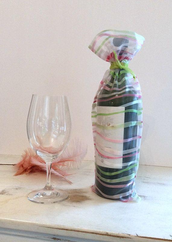 126 best fancy girl wine bags images on pinterest wine bags wine bag pink green stripes translucent bottle bag gift wrap bag party bag baby shower bridal negle Images