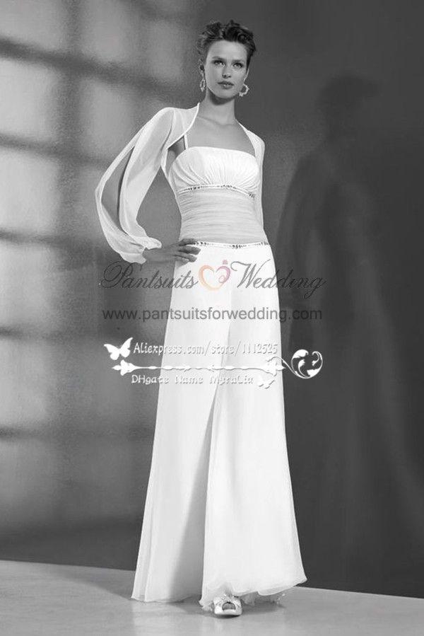 da0851b8ec Two piece Chiffon bridal jumpsuit with jacket for beach wedding BA-052