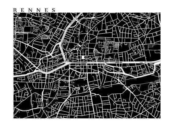 Rennes Map Print France Art Poster par CartoCreative sur Etsy