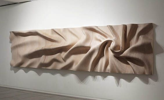 Korean sculptor Cha Jong Rye shapes, carves, sculpts and manipulates wood to not look like wood. Whether it's building the material up into pyramids sprouting up from a 2D surface, or forming wood into a free standing spiky form, or making it resemble a scrunched up ball of paper, Jong