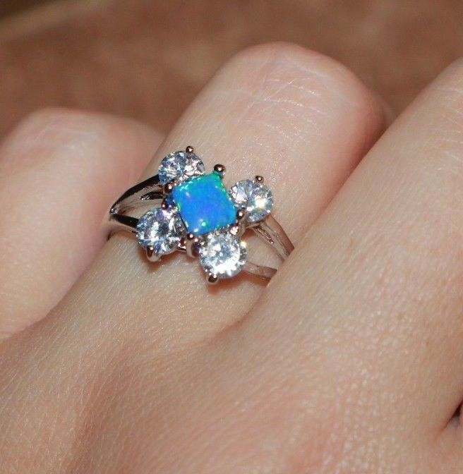blue fire opal Cz ring gemstone silver jewelry Sz 7.5 engagement cocktail band