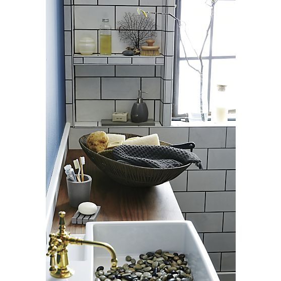 Marin white oval serving platters pump grey and crate for Grey bath accessories