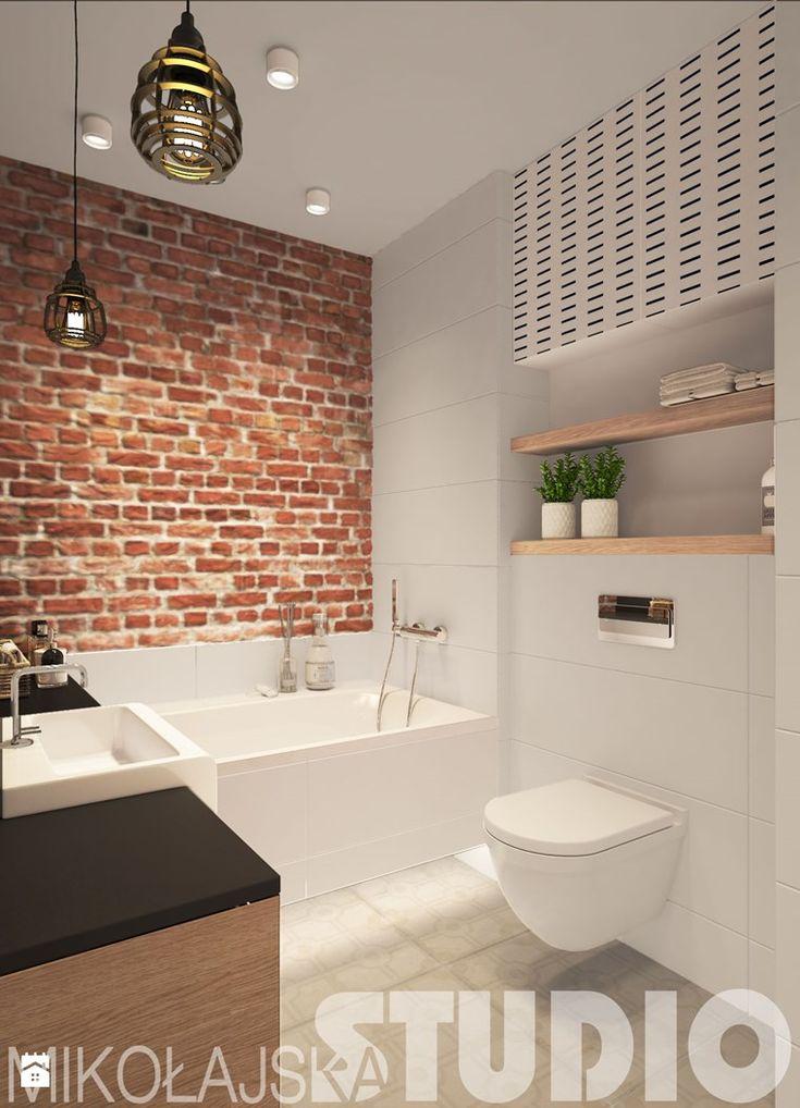 łazienka cegła projekty wnetrz - zdjęcie od MIKOŁAJSKAstudio - Łazienka - Styl…