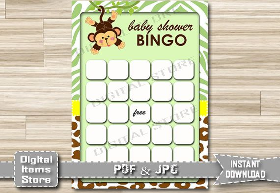Printable Monkey Bingo Game  Baby Shower Bingo by DigitalitemsShop